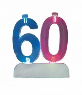 Colour Changing Flashing Candle Holder, Number 60, with 4 Candles