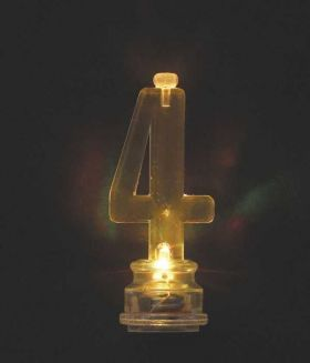 Colour Changing Flashing Candle Holder, Number 4, with 4 Candles