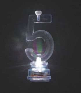 Colour Changing Flashing Candle Holder, Number 5, with 4 Candles