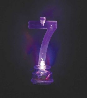 Colour Changing Flashing Candle Holder, Number 7, with 4 Candles