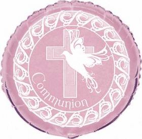 Dove Cross Communion Girl Pink Party Foil Balloon