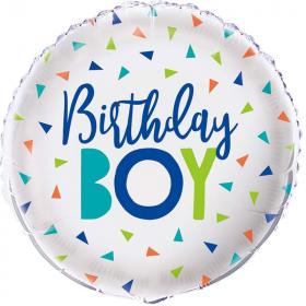 """Confetti Birthday Boy Foil Balloon 18"""""""
