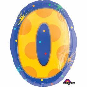 Confetti Dots Number 0 Junior Shape Foil Balloons