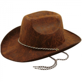 Cowboy Leather Look Brown Hat