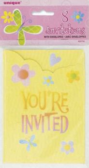 Butterflies & Flowers Party Invitations pk8