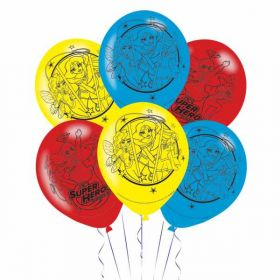 DC Super Hero Girl Latex Party Balloons pk6