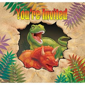 Dino Blast Party Invitations pk8