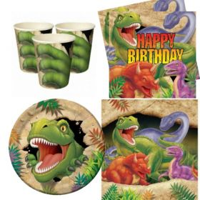 Dino Blast Party Pack For 8 including tableware and 8 filled party bags