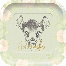 Disney Bambi Cutie Square Paper Plates 24cm x 24cm, pk4