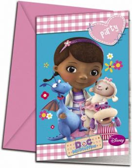 Doc McStuffins Party Invitations pk6