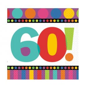 60th Birthday Dots & Stripes Party Napkins, Pack of 16