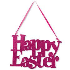 Happy Easter Glitter Sign with Ribbon Hanger 26cm