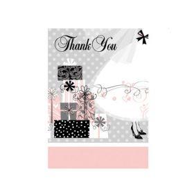 Elegant Wedding Thank You Cards, pk8