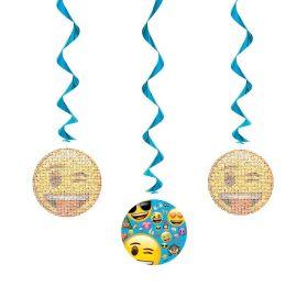 Emoji Hanging Swirl Decorations pk3