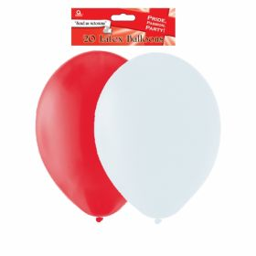 St. Georges Day / England Red & White Latex Balloons 20 Pack