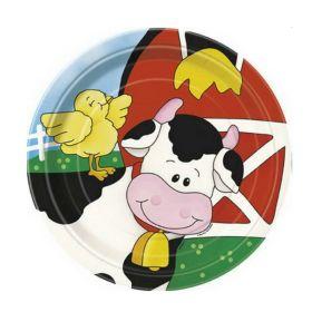 Farm Friends Party Plates 18cm, pk8