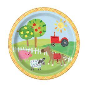 Farm Party Plates 18cm, pk8