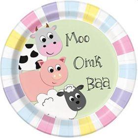 Farmyard Party Plates 23cm, pk8