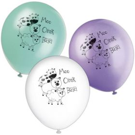 Farmyard Party Balloons pk8