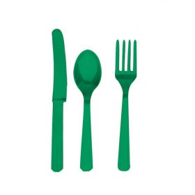 Festive Green Cutlery Set for 6