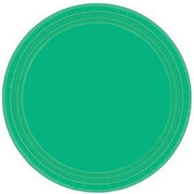 Festive Green Paper Plates 23cm, pk8