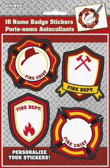 Fire Truck Name Badge Stickers pk16