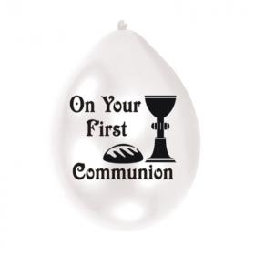 "First Communion Latex Balloons 9"""