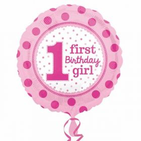 1st Birthday Girl Pink Foil Balloon