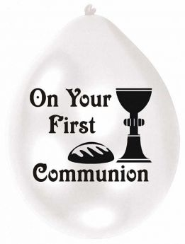 First Communion Airfill Balloons, pk10, 22.8cms