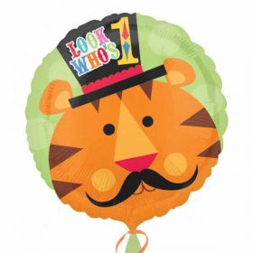 1st Birthday Circus Looks Who's 1 Foil Balloon