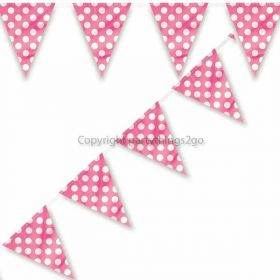 Hot Pink Polka Dot Party Flag Bunting