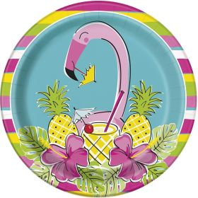 Summer Pineapple & Flamingo Party Plates 22cm, pk8