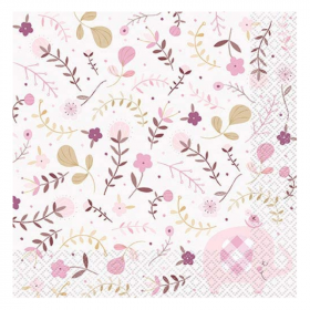 Pink Floral Elephant Baby Shower Napkins 33cm x 33cm, pk16