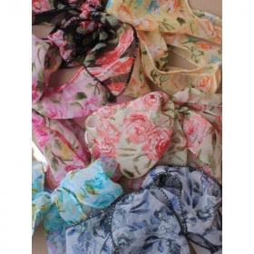 Floral Print Chiffon Fabric Hair Tie Bandeaux