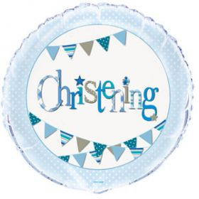 Christening Blue Bunting Party Foil Balloon