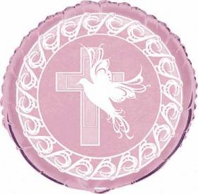 Dove Cross Christening Girl Pink Party Foil Balloon
