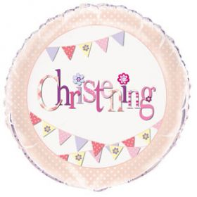 Christening Pink Bunting Party Foil Balloon