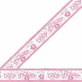 Umbrellaphants Pink Foil Baby Shower Banner 12ft