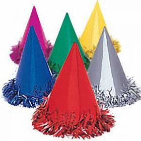 Fringed Cone Party Hats 6pk