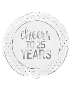 Silver Cheers to 25 Years Foil Balloon 18""