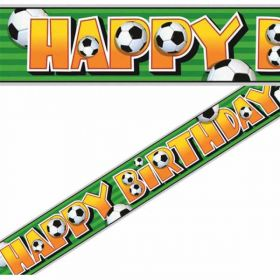 3D Soccer Happy Birthday Party Banner 12ft