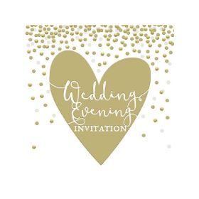 Gold Wedding Evening Invite Cards, pk6