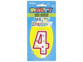 Glitter No. 4 Birthday Candle & Decoration