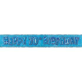 Blue Glitz Age 70 Prismatic Foil Banner 2.8m