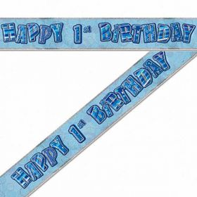Blue Glitz 1st Birthday Prismatic Banner