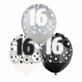 Black Glitz 16 All Over Print Party Balloons 6pk