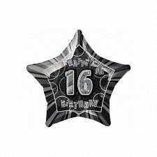 Black Glitz Star 16 Foil Party Balloon