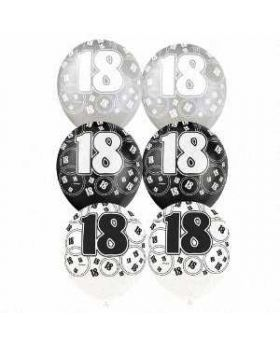 Black Glitz 18 All Over Print Party Balloons 6pk