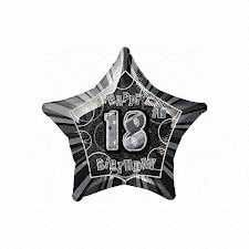 Black Glitz Star 18 Foil Party Balloon