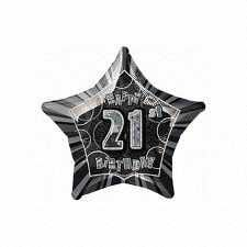 Black Glitz Star 21 Foil Party Balloon